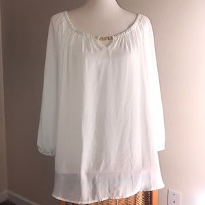 3/4 sleeve sheer white top size xl